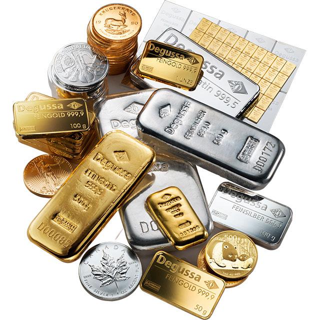 Barra de oro Combi Degussa de 50 g