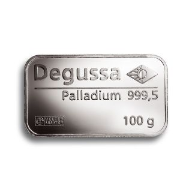 Barra de paladio de Degussa 100 g