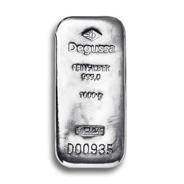 Barra de plata de Degussa 1 kg