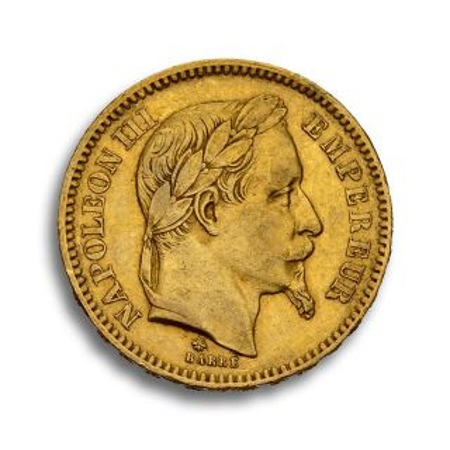 Moneda de oro 20 Francos Napoleon III (1861-1870) con corona